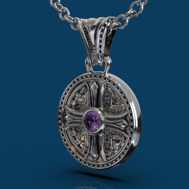 Byzantium Pendant - Amethyst - Hanging Angle