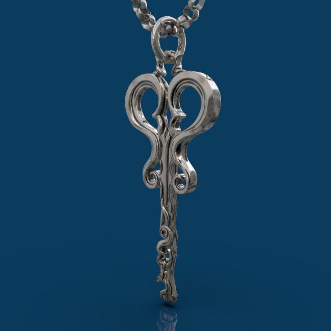 Wonderland Skeleton Key Pendant - Hanging Angle -A